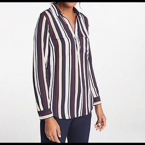 Ann Taylor striped camp shirt NWT